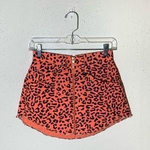 NWT LF Carmar Beatrice Leopard Print Denim Skirt